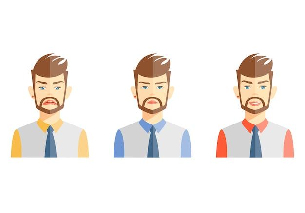 Vectorillustraties van jonge bebaarde man verschillende emoties op wit uitdrukken