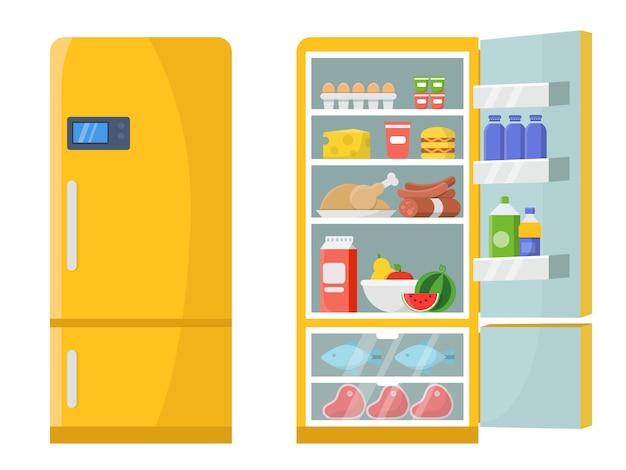 Vectorillustraties van lege en gesloten ijskast met verschillend gezond voedsel