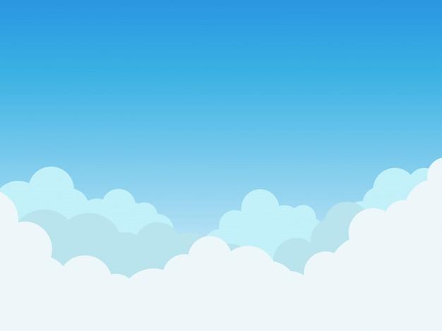 Vectorillustratiewolken op blauwe hemelachtergrond