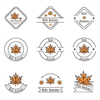 Vectorinspiratie door het platte ontwerp van verschillende esdoornbladerenpictogrammen en logo's die het herfstthema brengen.