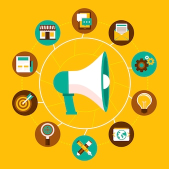 Vectorinternet marketing concept in vlakke stijl