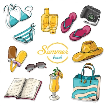 Vectorinzameling van de zomerelementen in schetsstijl