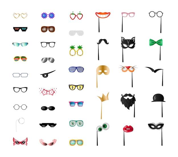 Vectorinzameling van kleurrijke maskers en glazen.