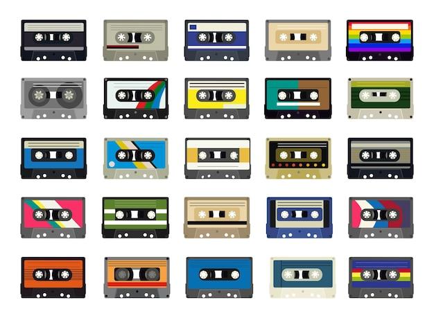 Vectorinzameling van kleurrijke retro cassettes.