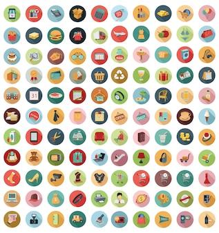 Vectorinzameling van moderne vlakke en kleurrijke het winkelen pictogrammen