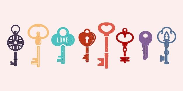 Vectorinzameling van oude gekleurde sleutels. vintage decoratieve zwart-wit pictogrammen.