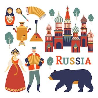 Vectorinzameling van russische cultuur en aardbeelden.