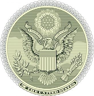 Vectorized eagle seal van one dollar bill