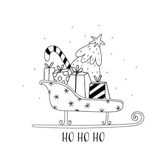 Vectorkaart met kerstman slee geschenkdozen kerstboom