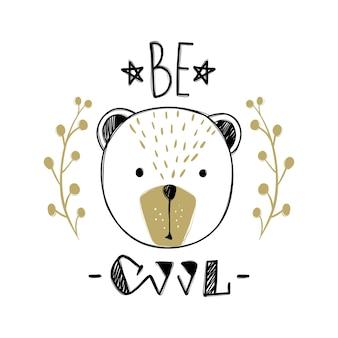 Vectorkaart met schattige modebeer. stijlvolle teddybeer. doodle kinderen dieren afdrukken. grappig karakter. leuke illustratie, trendy design. wees cool.