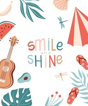 Vectorkaart met zomerspullen en belettering glimlach en glans