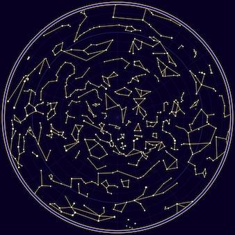 Vectorkaart van norhern hemel met constellaties