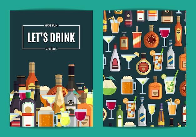 Vectorkaart, vliegermalplaatje voor bar, bar of slijterij met alcoholische dranken in glazen en flessen. whisky en drankalcoholillustratie