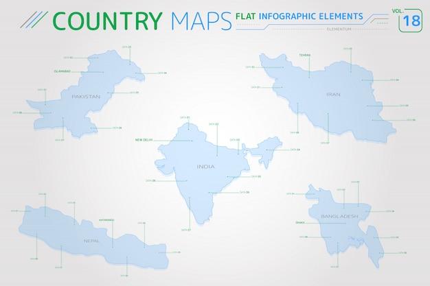 Vectorkaarten voor pakistan, india, bangladesh, iran en nepal Premium Vector