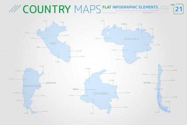 Vectorkaarten voor peru, venezuela, colombia, argentinië en chili