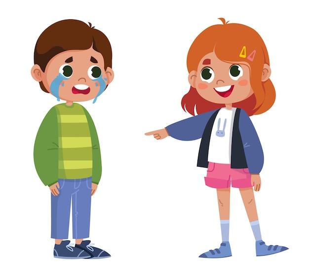 Vectorkarakters kinderen pesten leuk het meisje wijst met haar vinger naar de jongen die huilt