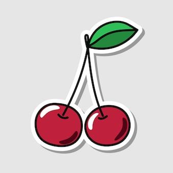 Vectorkersensticker in cartoonstijl geïsoleerde bes met schaduw