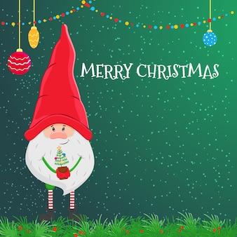 Vectorkerstkaart met een kleine kabouter in een rode hoed en een kerstboom