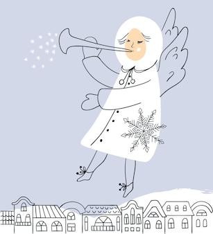 Vectorkerstkaart met engel die over de stad vliegt. vectorontwerp voor wenskaarten en uitnodigingen.