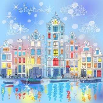 Vectorkerstmis amsterdamse gracht en nederlandse huizen