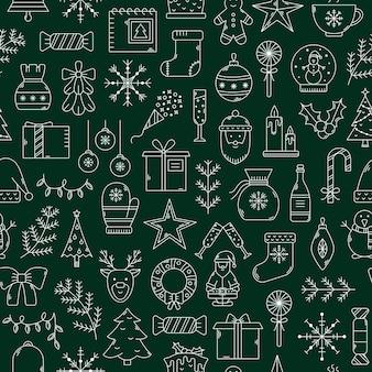 Vectorkerstmis naadloos patroon. nieuwjaarsachtergrond met overzichtspictogrammen