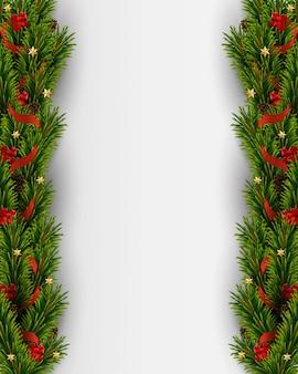 Vectorkerstmisachtergrond met realistische kerstmisboom