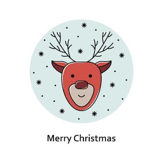 Vectorkerstmisillustratie. nieuwjaar kleur overzicht pictogram. kerst hert