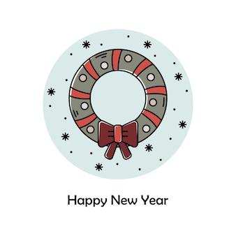Vectorkerstmisillustratie. nieuwjaar kleur overzicht pictogram. kerst krans.