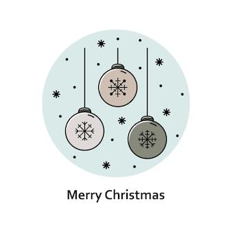 Vectorkerstmisillustratie. nieuwjaar kleur overzicht pictogram. kerstboom speelgoed