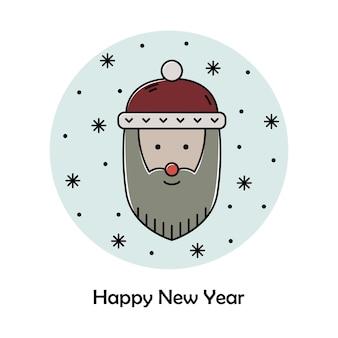 Vectorkerstmisillustratie. nieuwjaar kleur overzicht pictogram. kerstman