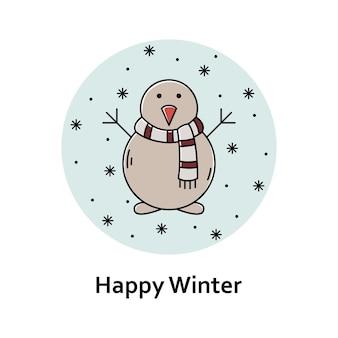 Vectorkerstmisillustratie. nieuwjaar kleur overzicht pictogram. sneeuwman