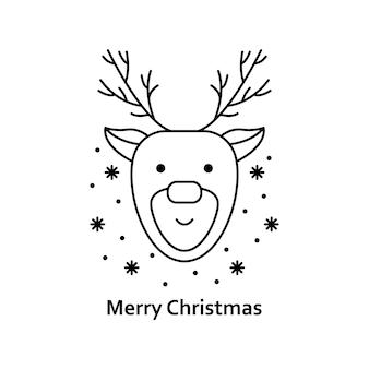 Vectorkerstmisillustratie. nieuwjaar overzicht pictogram. kerst hert
