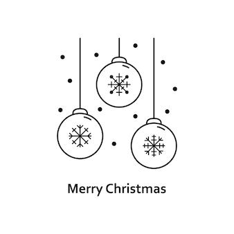 Vectorkerstmisillustratie. nieuwjaar overzicht pictogram. kerstboom speelgoed