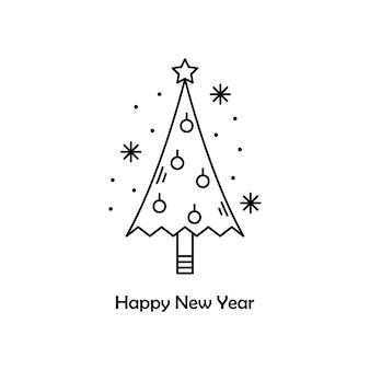 Vectorkerstmisillustratie. nieuwjaar overzicht pictogram. kerstboom