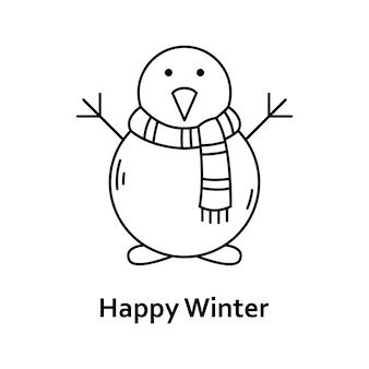 Vectorkerstmisillustratie. nieuwjaar overzicht pictogram. sneeuwman