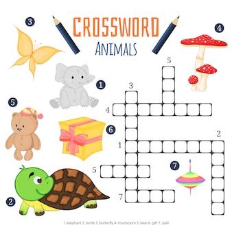 Vectorkleurenkruiswoordraadsel, kinderachtig onderwijsspel over dieren