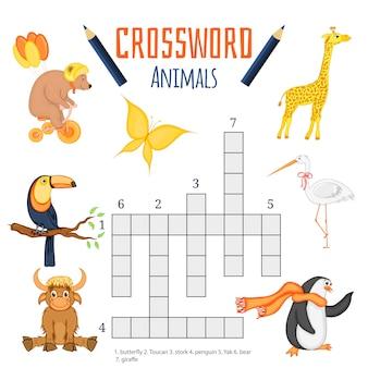Vectorkleurenkruiswoordraadsel, onderwijsspel voor kinderen over dieren.