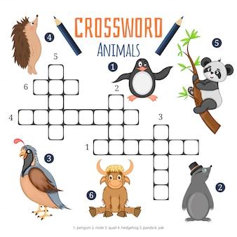 Vectorkleurenkruiswoordraadsel, onderwijsspel voor kinderen over dieren