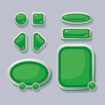 Vectorknoppen en navigatievensters voor het ontwerp van de game-interface