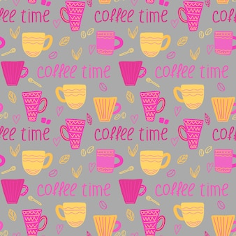 Vectorkoffiepatroon met koffiekopjes en de koffietijd van de inschrijving in krabbelstijl