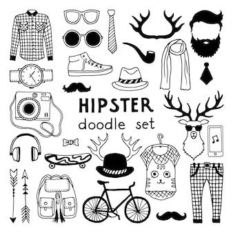 Vectorkrabbel die met de verschillende elementen van de hipsterstijl wordt geplaatst