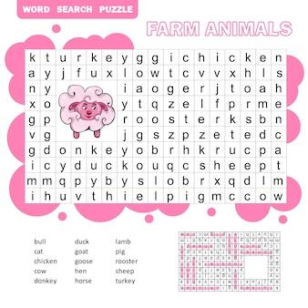 Vectorkruiswoordraadsel, onderwijsspel voor kinderen over landbouwhuisdieren en huisdieren. woordzoekpuzzel met antwoord