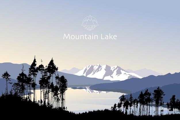 Vectorlandschap bergmeer met silhouet van bomen in de vroege ochtend prachtige natuur buitenshuis