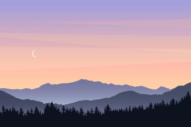Vectorlandschap met silhouetten van bergen en beboste heuvels vóór de ochtend van de zonsopgangaard