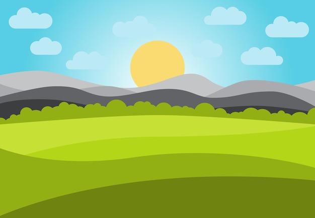 Vectorlandschap met veld en bergen. vroeg in de ochtend met het opkomen van de zon aan de horizon. vector illustratie.