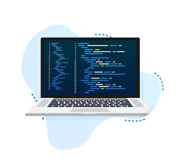 Vectorlaptopcoderingspatroon. webontwikkelaar, ontwerp, programmering. schermcode laptop. vector illustratie.