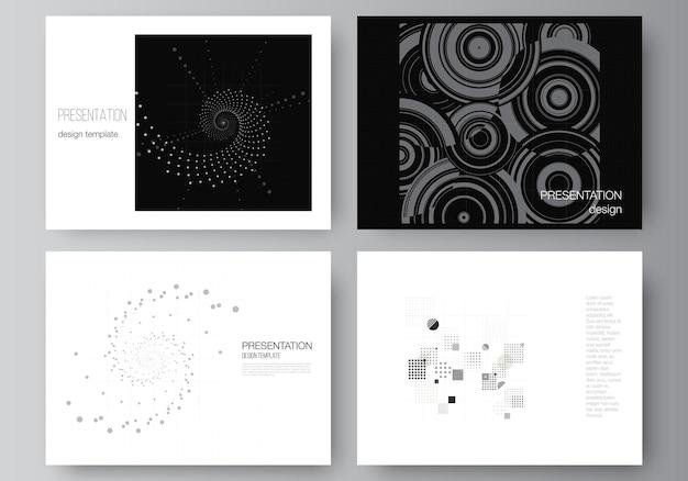 Vectorlay-out van de presentatiedia's ontwerp zakelijke sjablonen, sjabloon voor presentatiebrochure, brochureomslag, rapport. abstracte technologie zwarte kleur wetenschap achtergrond. hightech-concept.