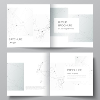 Vectorlay-out van twee covers-sjablonen voor vierkante tweevoudige brochure, flyer, tijdschrift, omslagontwerp, boekontwerp, brochureomslag. grijze technische achtergrond met verbindingslijnen en punten. netwerkconcept