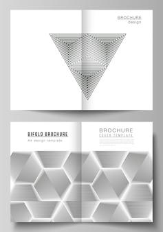 Vectorlay-out van twee een formaat moderne omslagmodellen ontwerpsjablonen voor tweevoudige brochure tijdschriftvlieg...