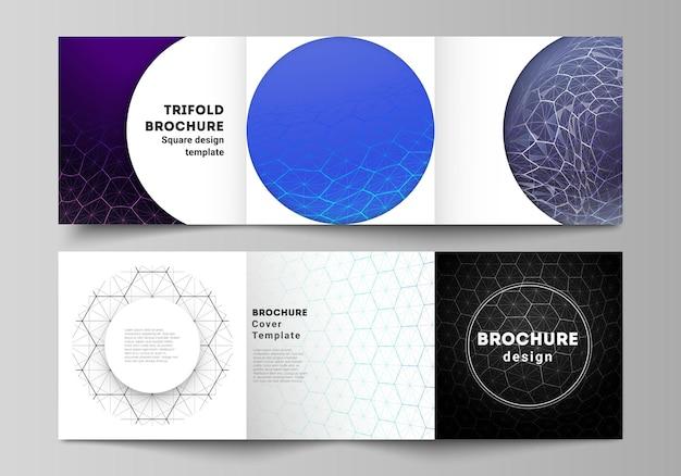 Vectorlay-out van vierkant formaat omvat ontwerpsjablonen voor driebladige brochure. digitale technologie en big data concept met zeshoeken, verbindende punten en lijnen, veelhoekige wetenschappelijke medische achtergrond.
